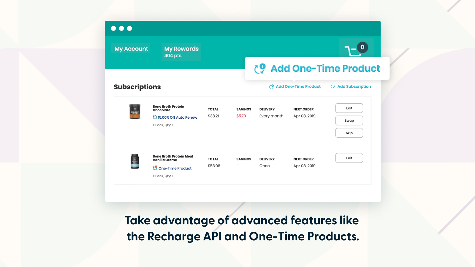 Recharge APIs and One-time Products