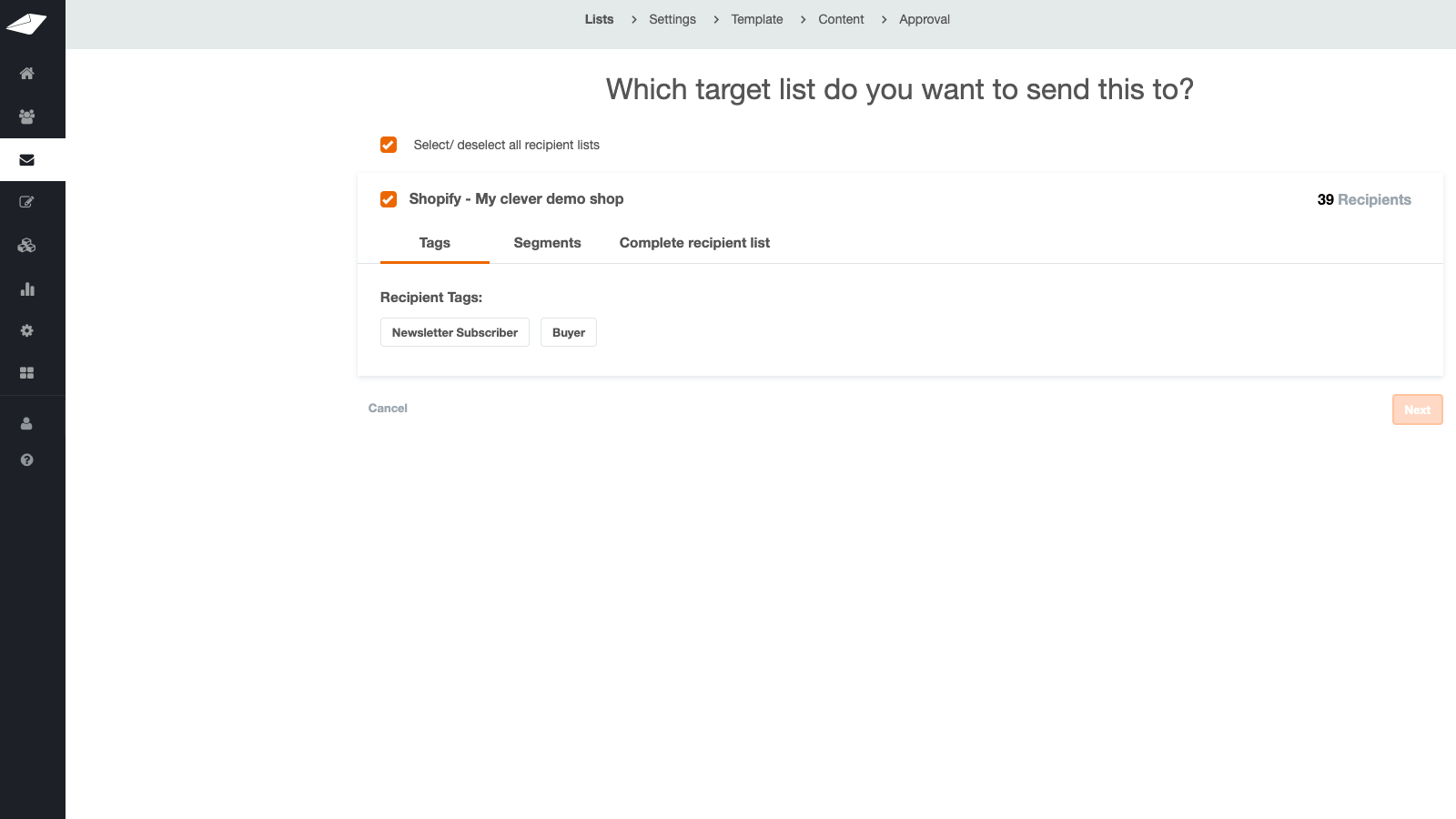 Send your email to a specific segment or your list
