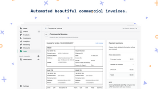 Automated commercial invoices.