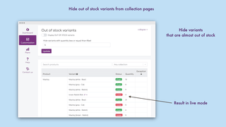 Autohide out of stock variants. Live view on variants table
