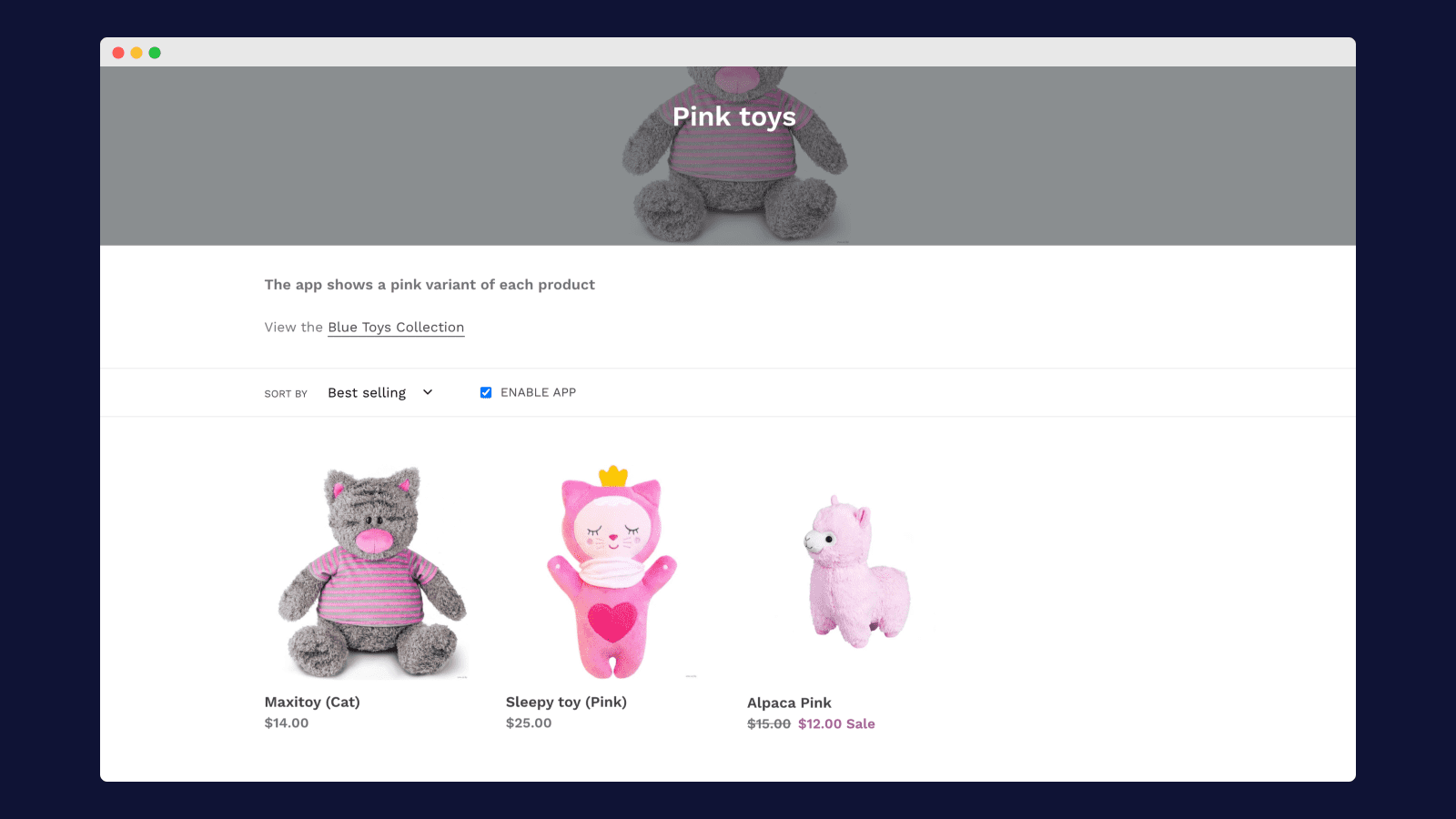 Show only pink variants – Collection conditions – Shopify