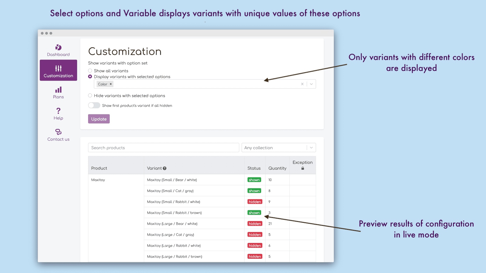 Show color variants on collection pages