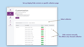 Show specific variants for selected collection – Hide variants