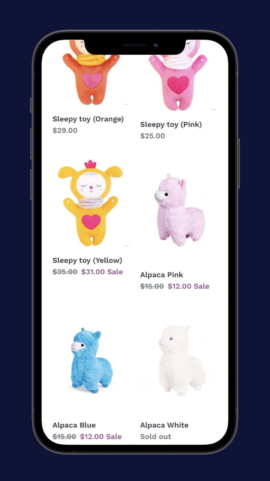 Variants on collection page mobile – Shopify Show color variants