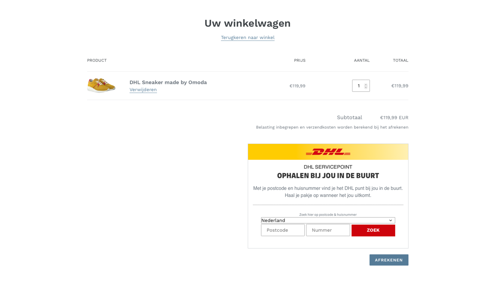 The nearest DHL point is shown in the shopping cart