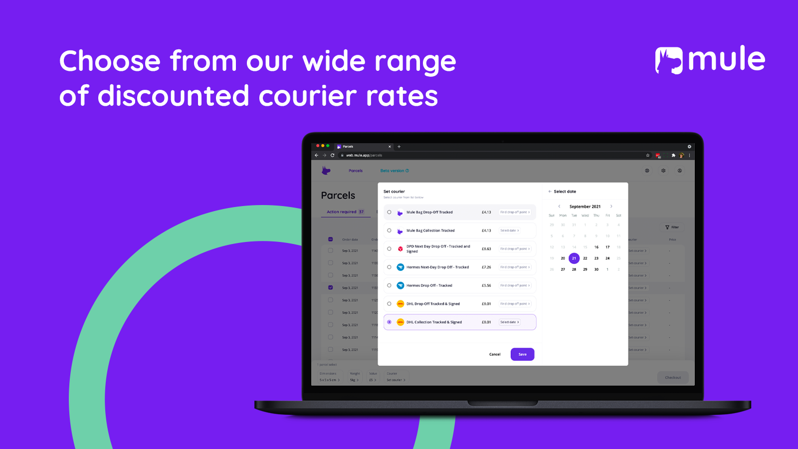 Choose from the couriers on our app and generate labels