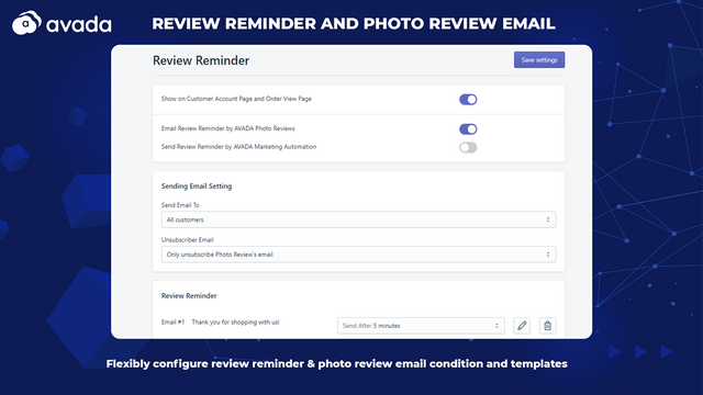 Configure review reminder and photo review email