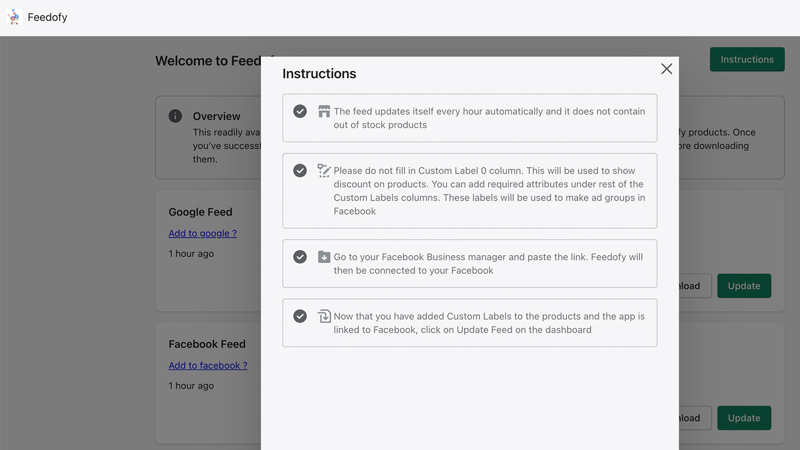 Instructions of Facebook and Google Feed