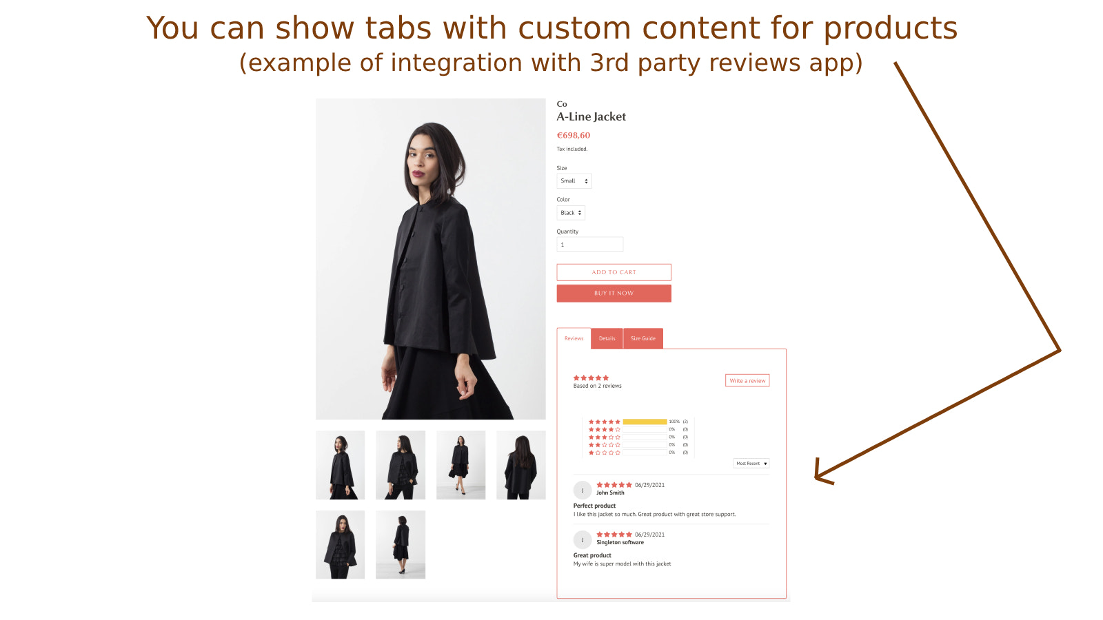 You can show tabs with custom content for products