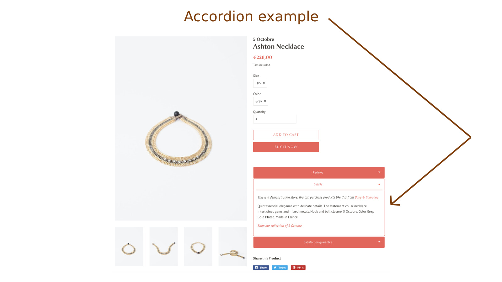 Accordion with product description in product detail page