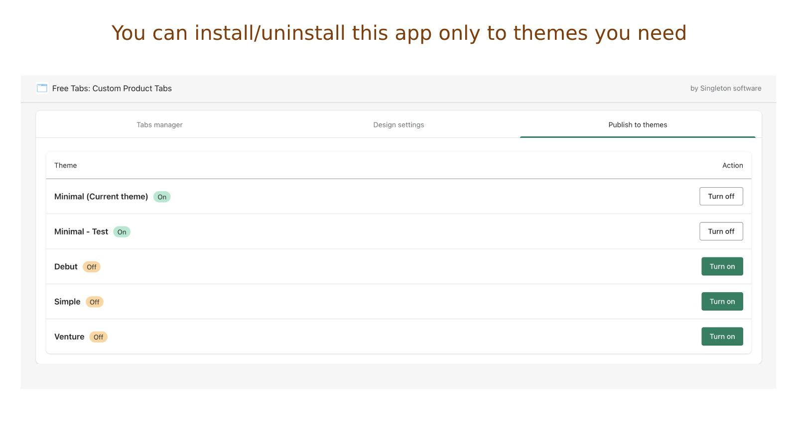 You can install/uninstall app only to themes you need