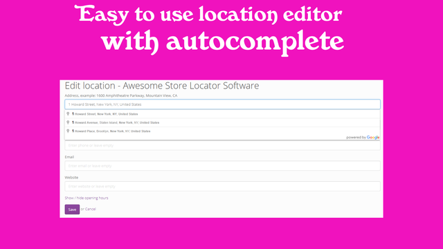 Backend admin features and easy to use editor with address autoc