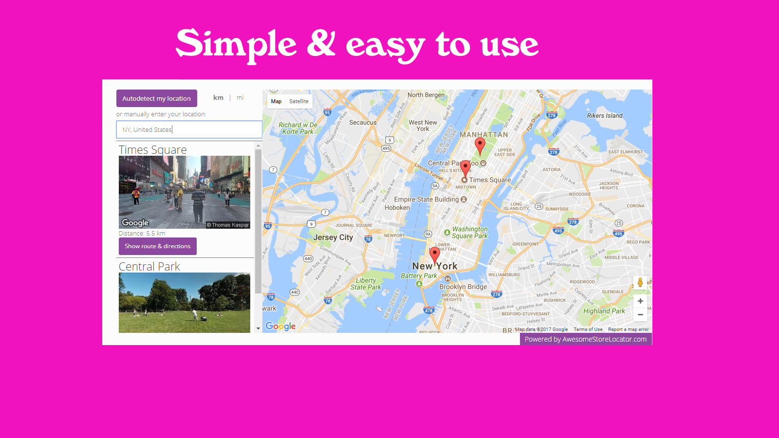 Simple store locator, very easy to use