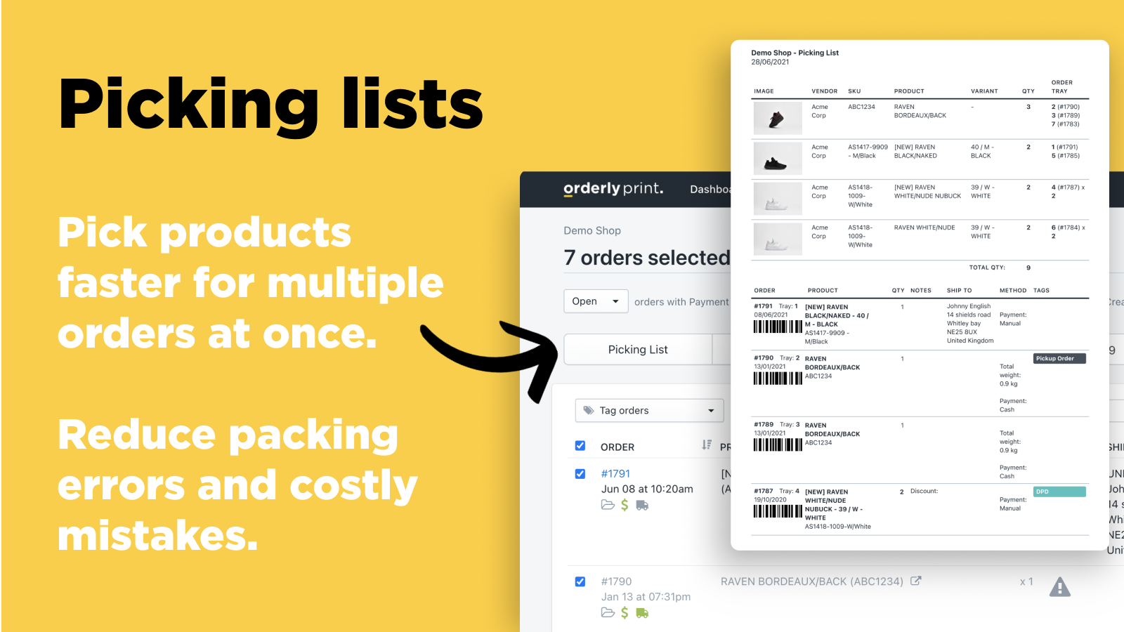Picking Lists: Pick products faster for multiple orders at once
