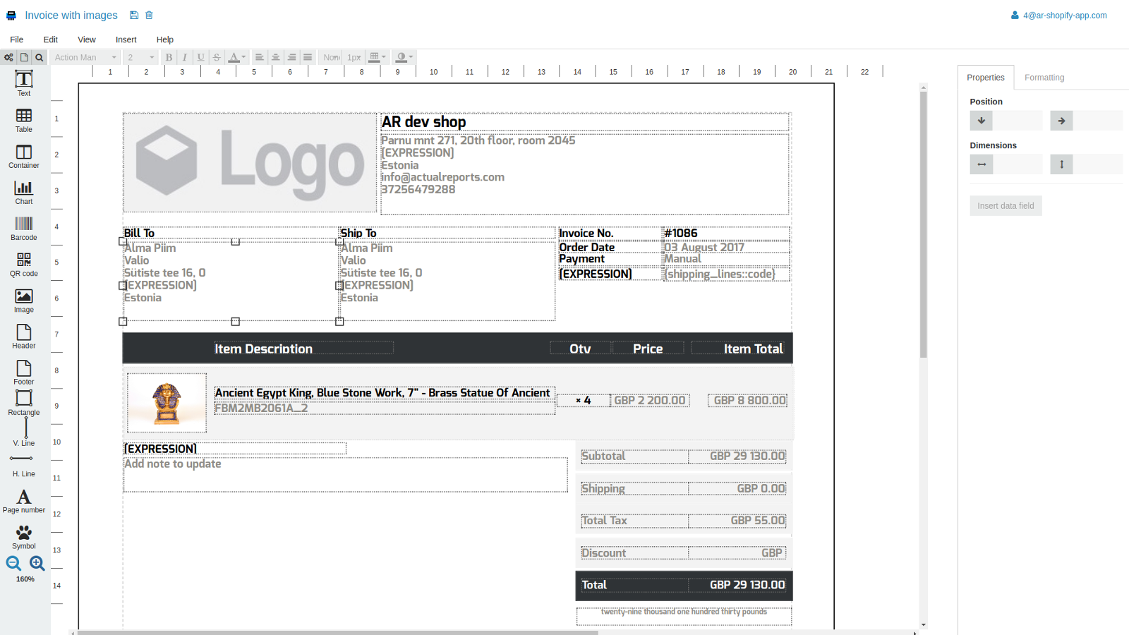 Drag and drop document editor