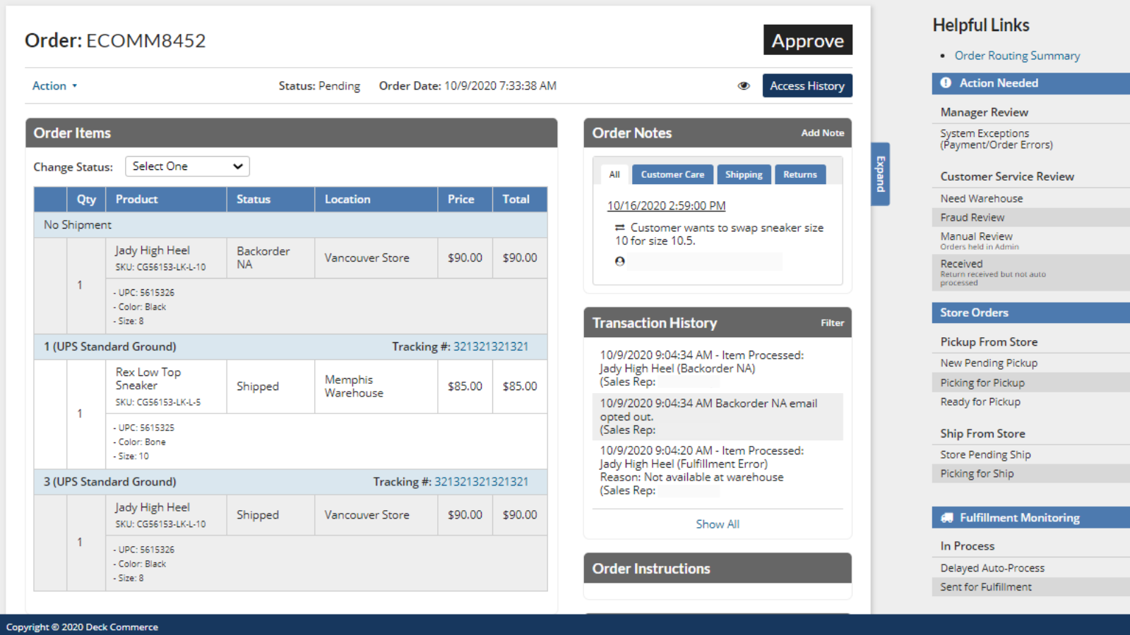 Order & customer info can be updated on a single screen.