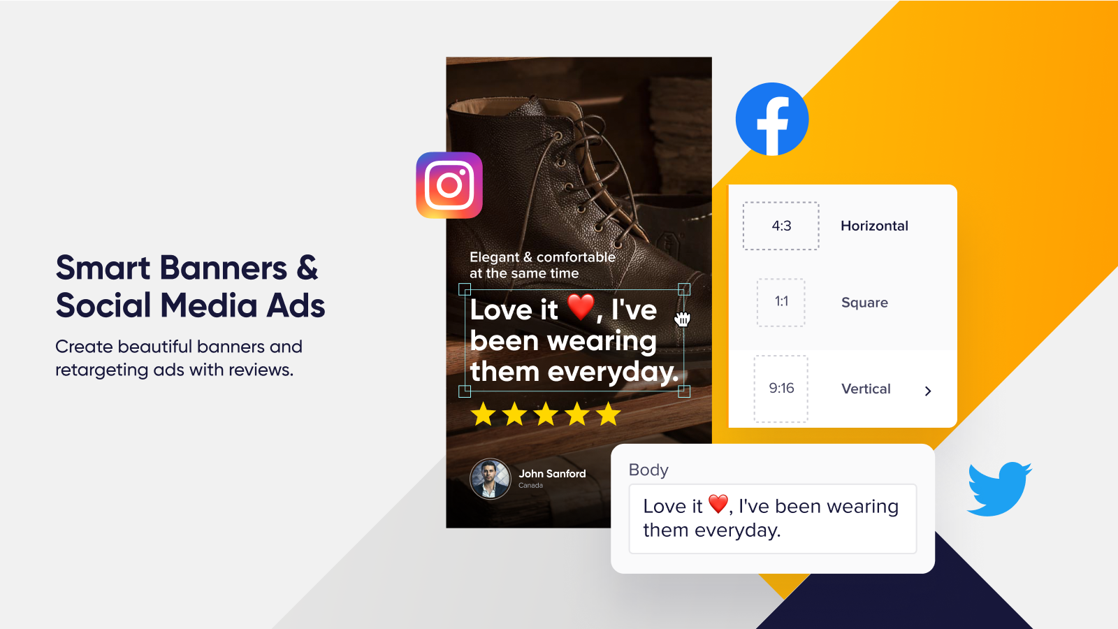 Create Beautiful Banners and Social Ads with Reviews