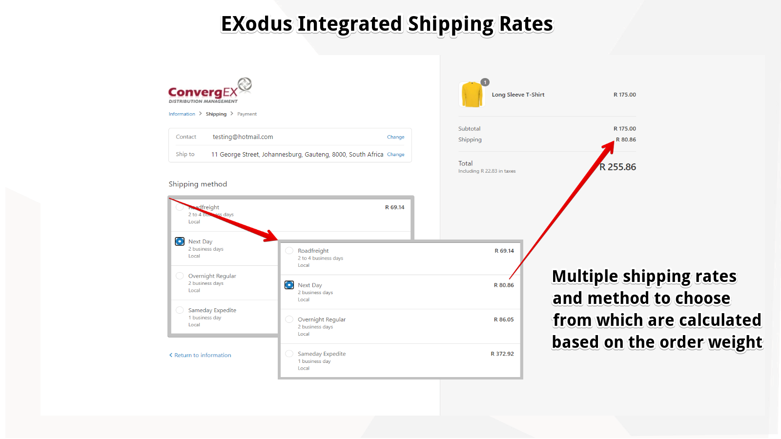 Shipping Rates Page