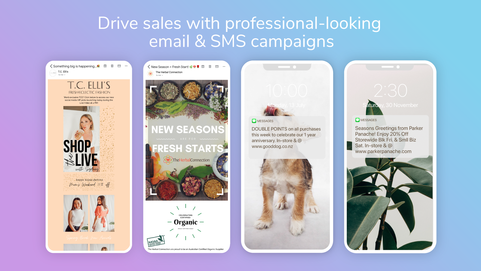 increase sales and Send emails and SMS on Marsello