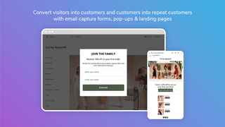 Pop-up form and automated email featured on gradient background