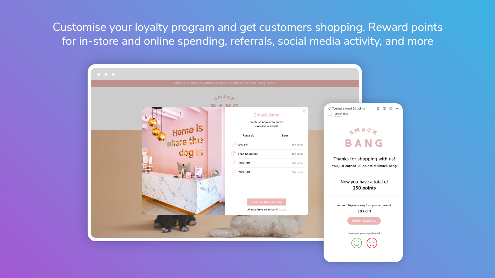 Marsello-powered loyalty widget and email on gradient background
