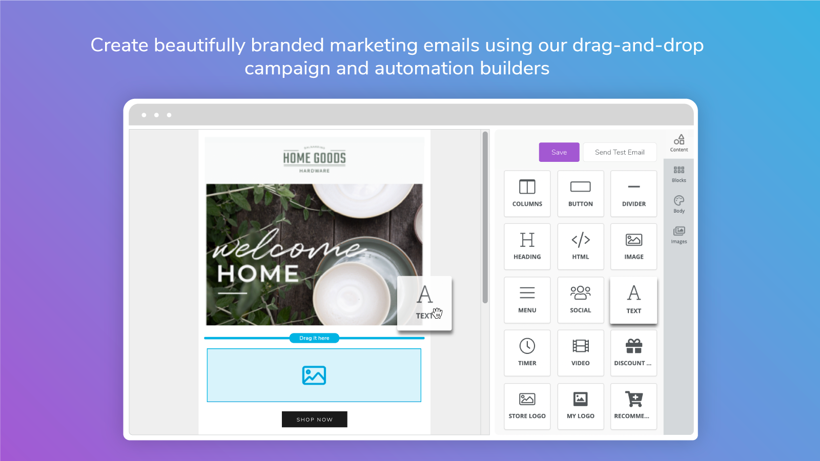 Email campaign built with Marsello's drag-and-drop builder