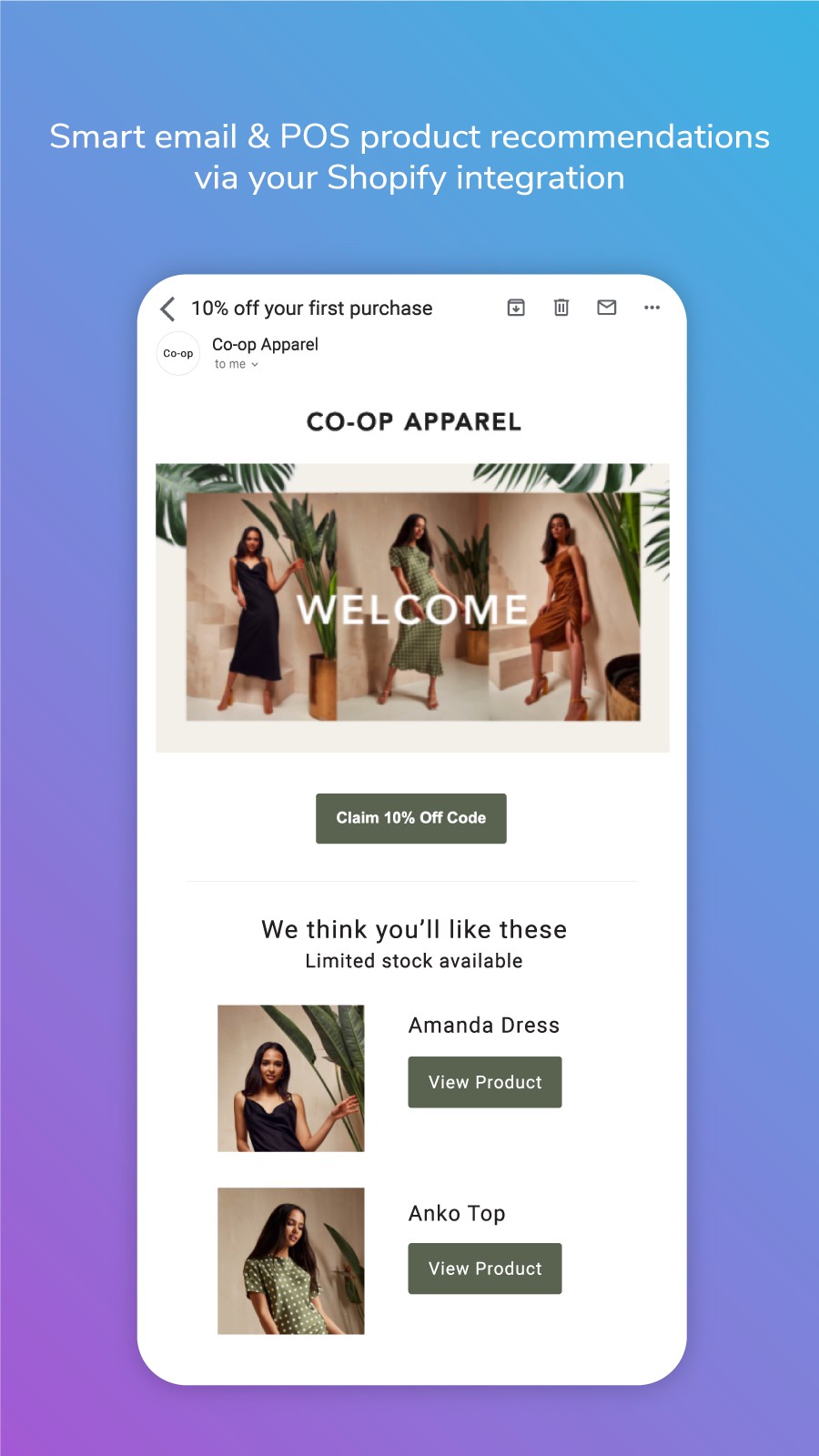 An email from Co-Op Apparel featuring product recommendations