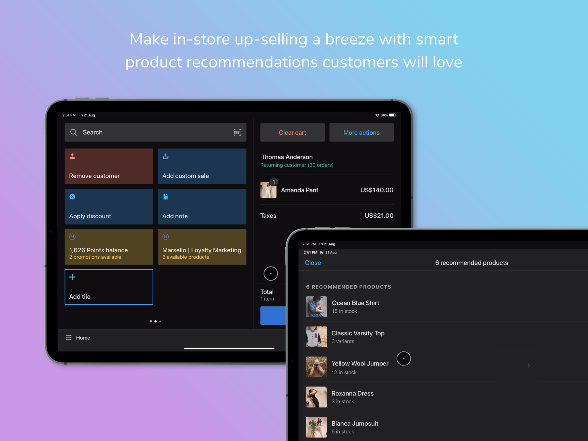 Marsello Shopify POS product recommendations