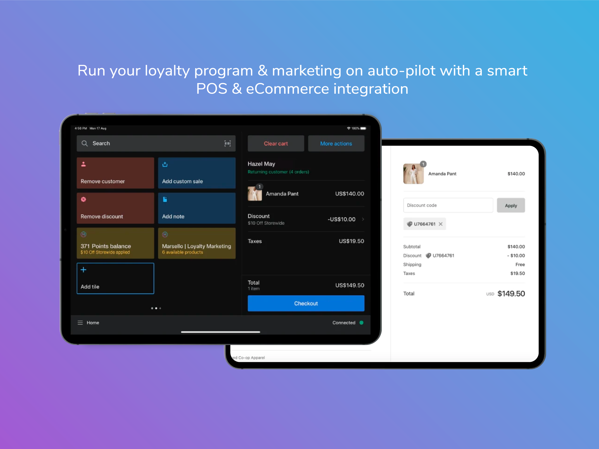 Marsello's smart POS & eCommerce integration shown at checkout