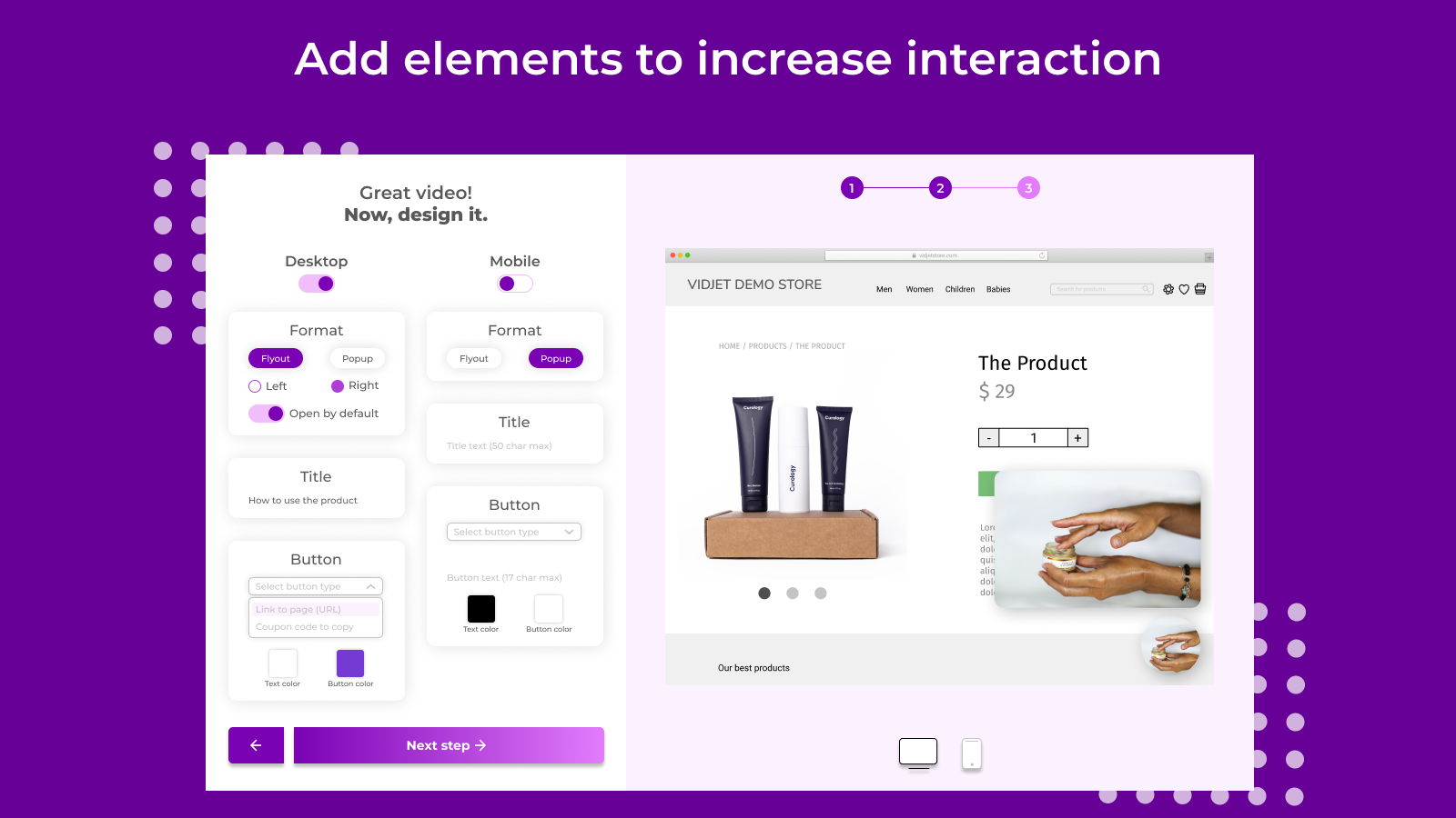 Vidjet create video popup shopify product video dynamic