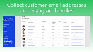 Collect email addresses and Instagram handles