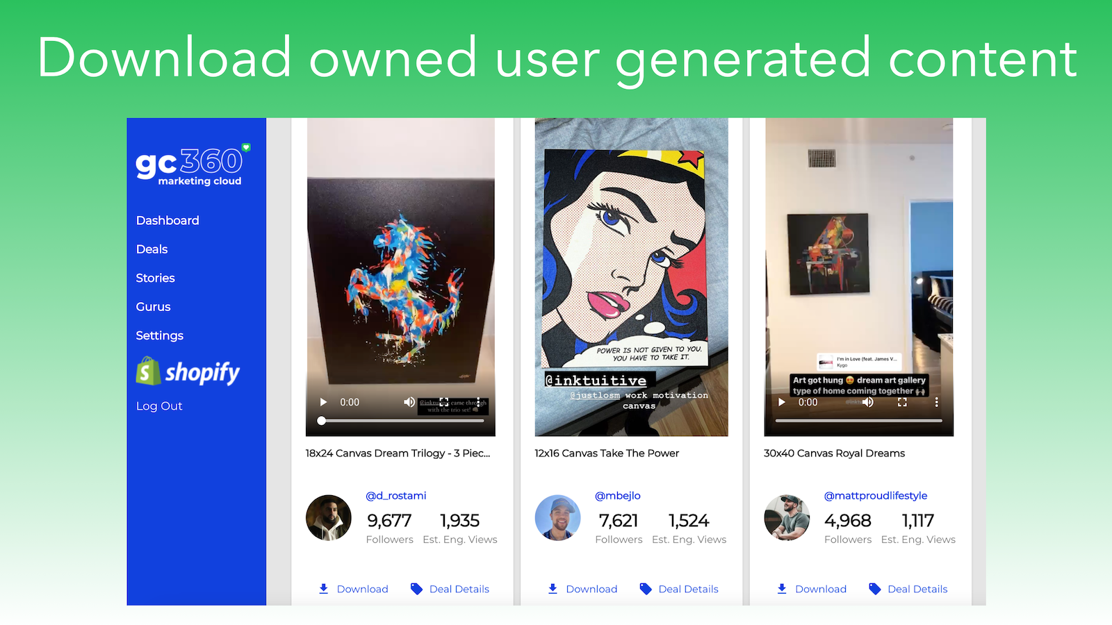 Download user generated content that you own the rights to