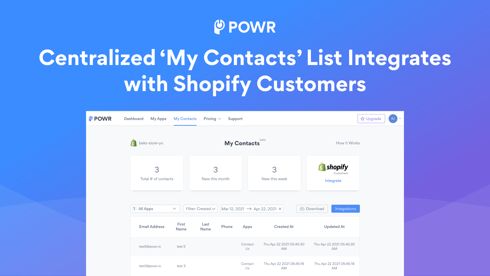 Sync new contacts with Shopify Customers