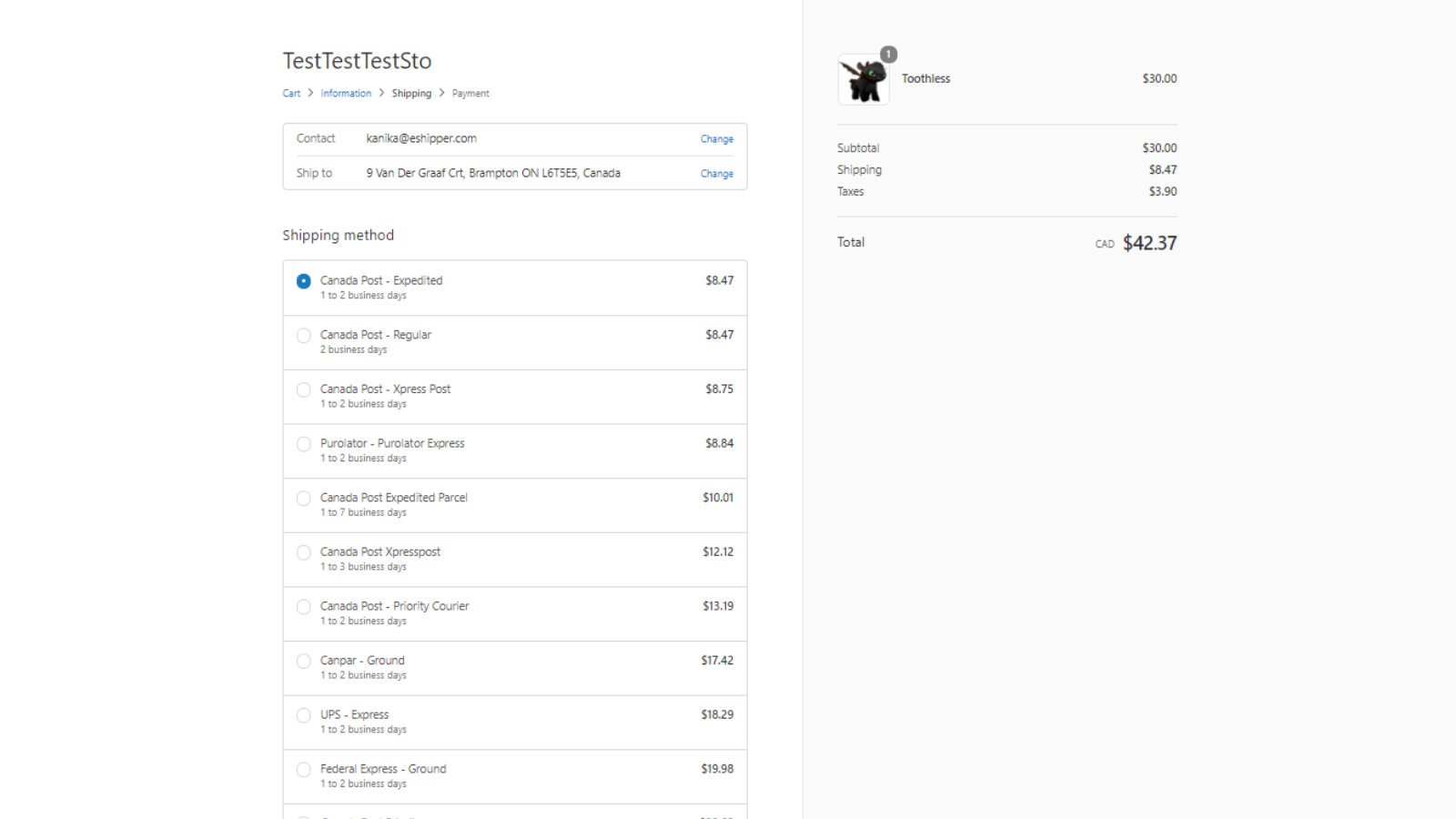 Shipping rates and carriers displayed for customer at checkout