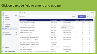 Click on barcode field to amend and update