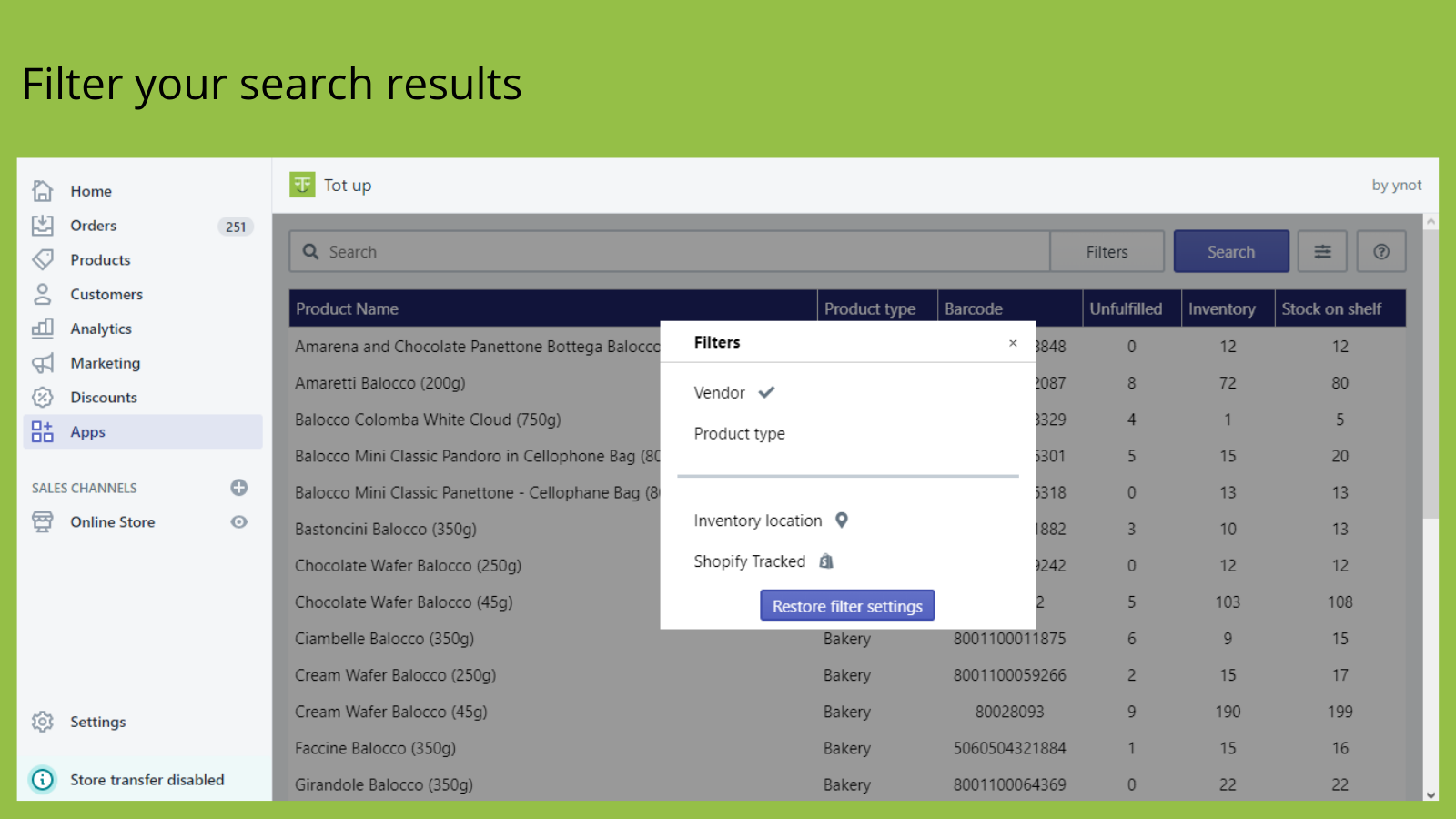 Filter your search results