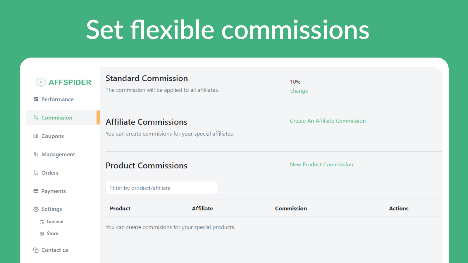 Fexiable ways to set up your commissions