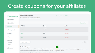 Create coupons for your affiliates