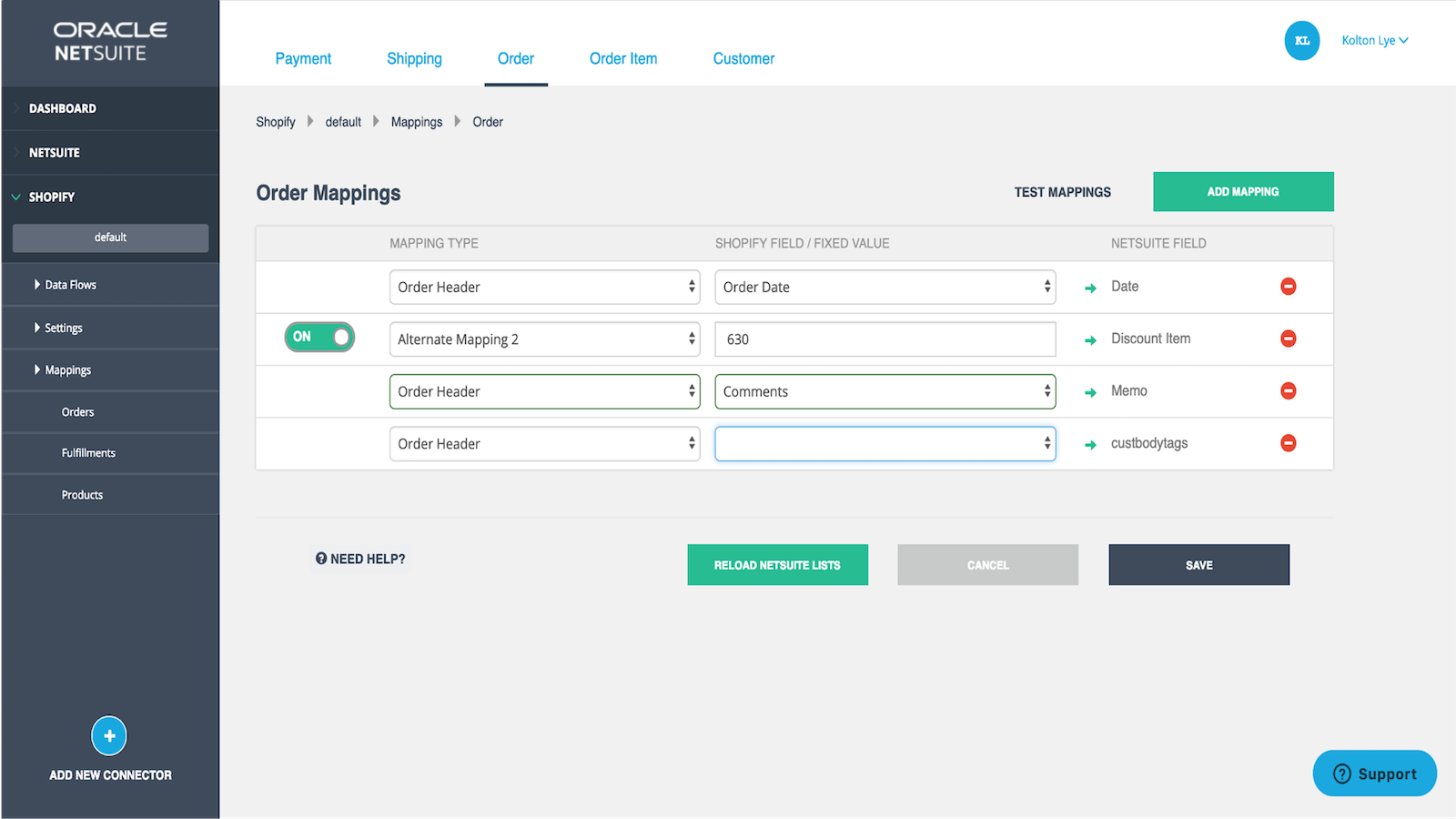 Map your Order fields between Shopify and NetSuite
