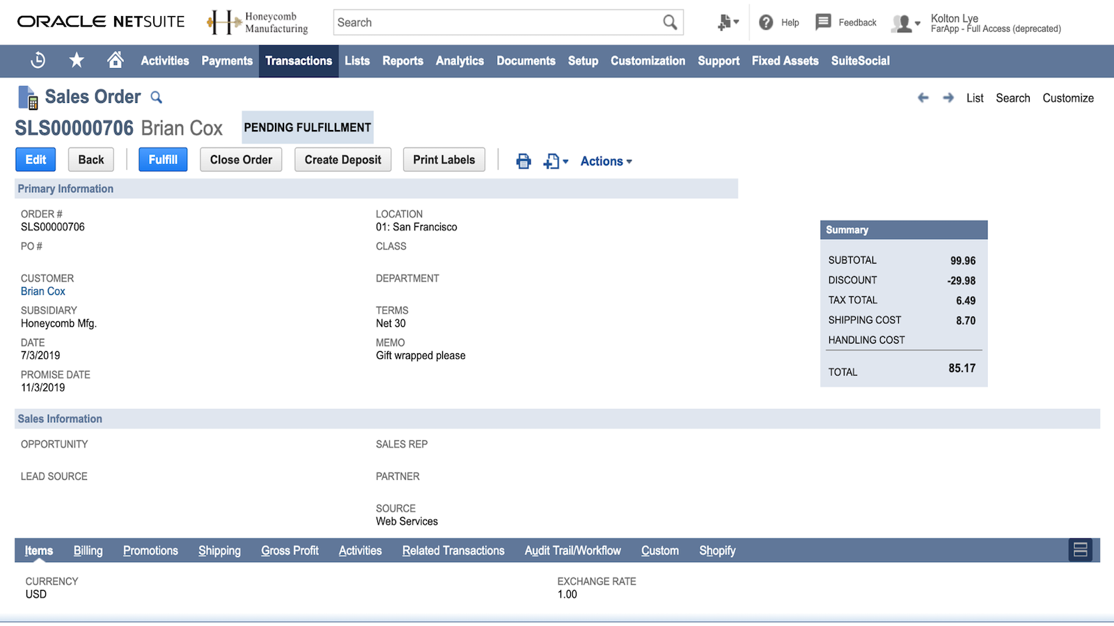 Shopify orders are imported to NetSuite for fulfillment