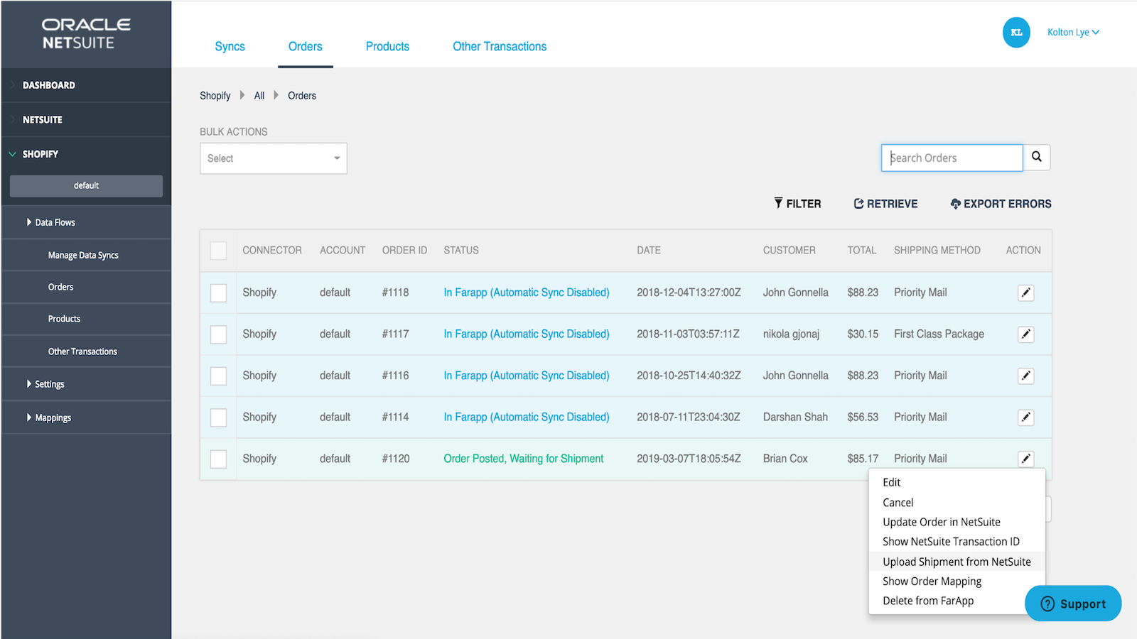 Fulfill orders in NetSuite and export shipping info to Shopify