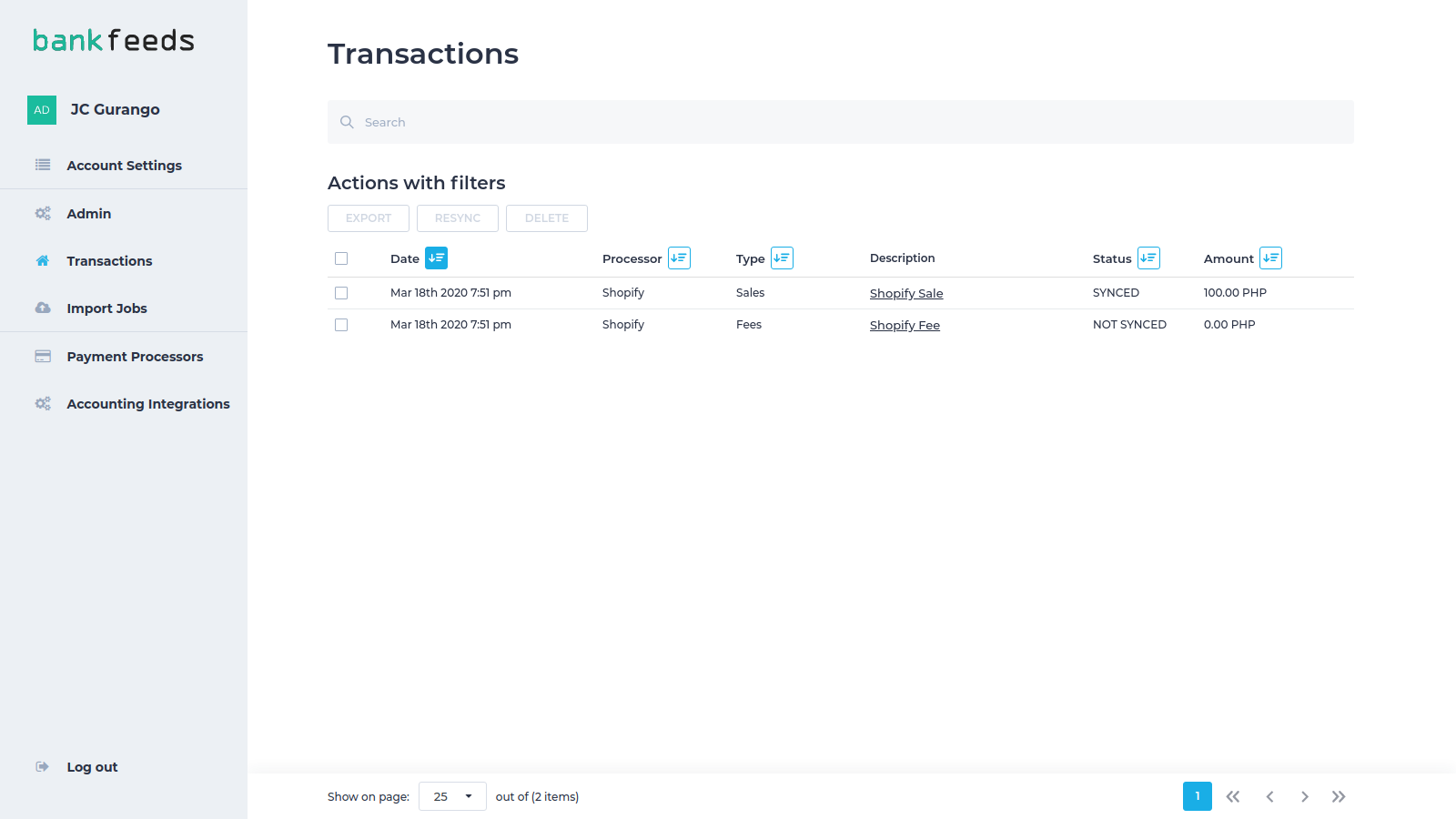 List of transactions imported into the app, and exported to Xero