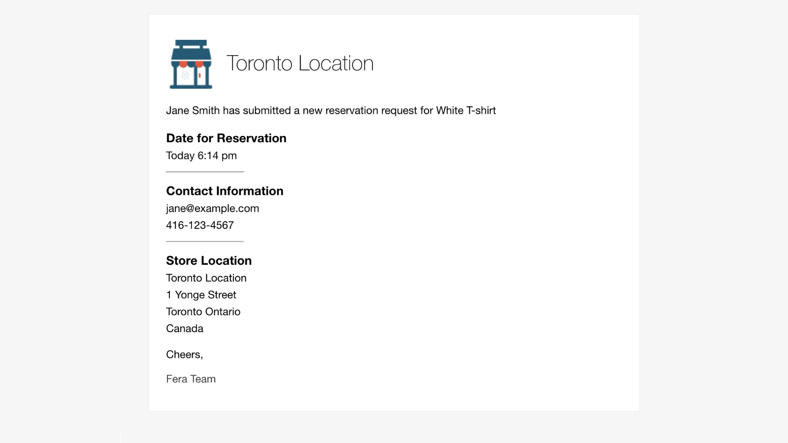Reservation Received Email