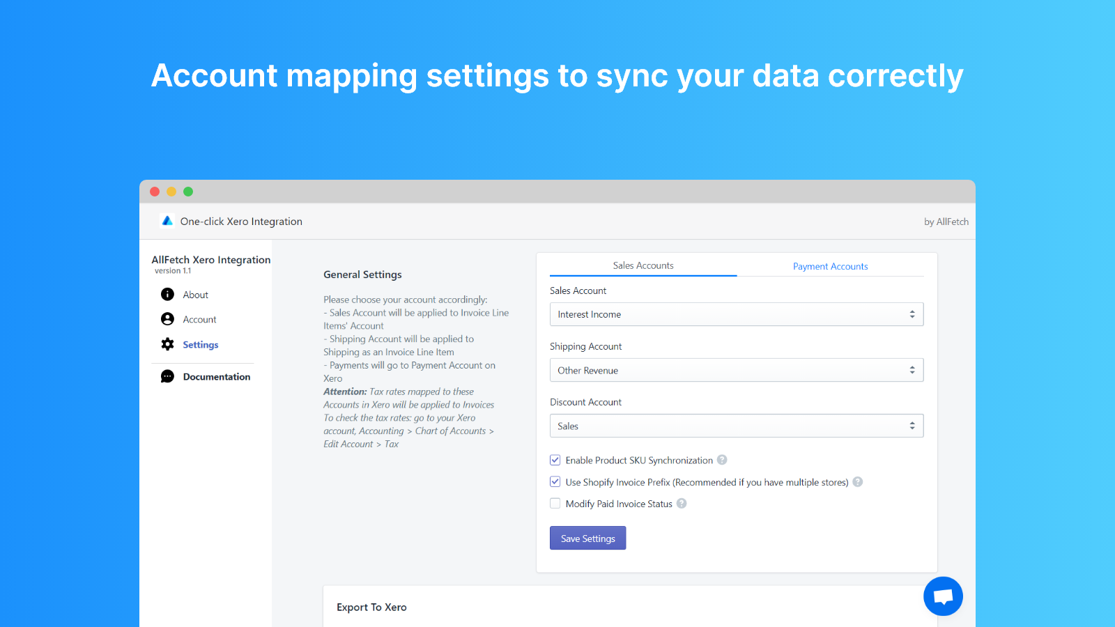 Xero Integration by AllFetch: Account Mapping