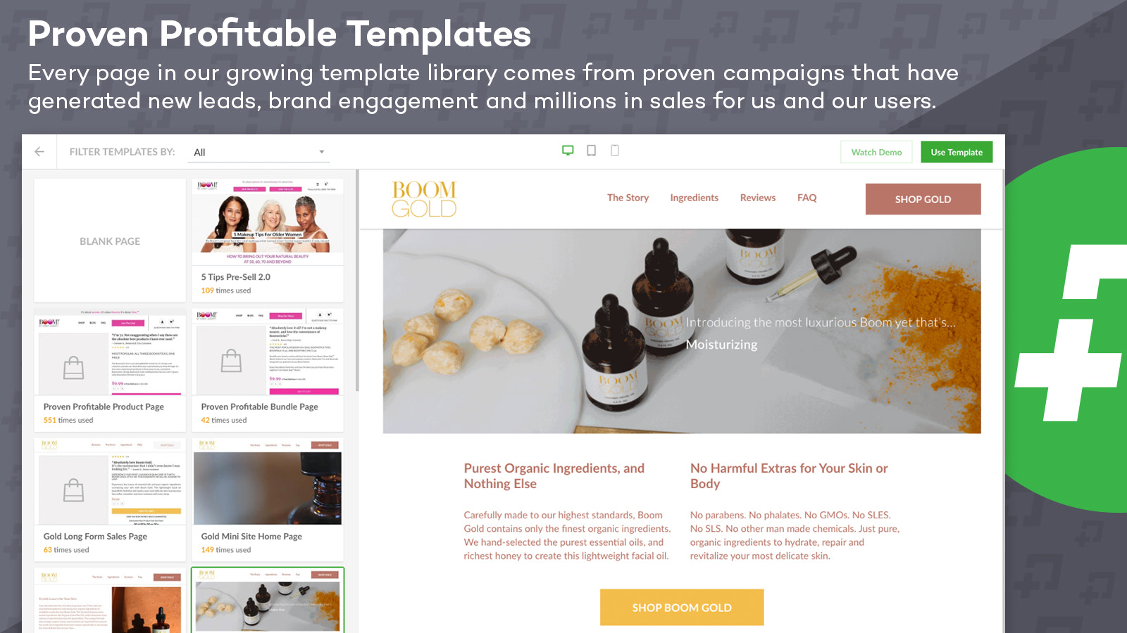 Pick from many different tested and proven page templates