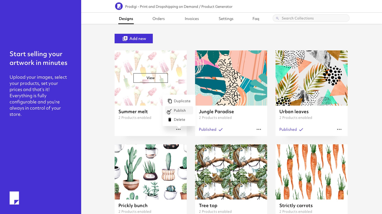 Start selling your artwork in minutes