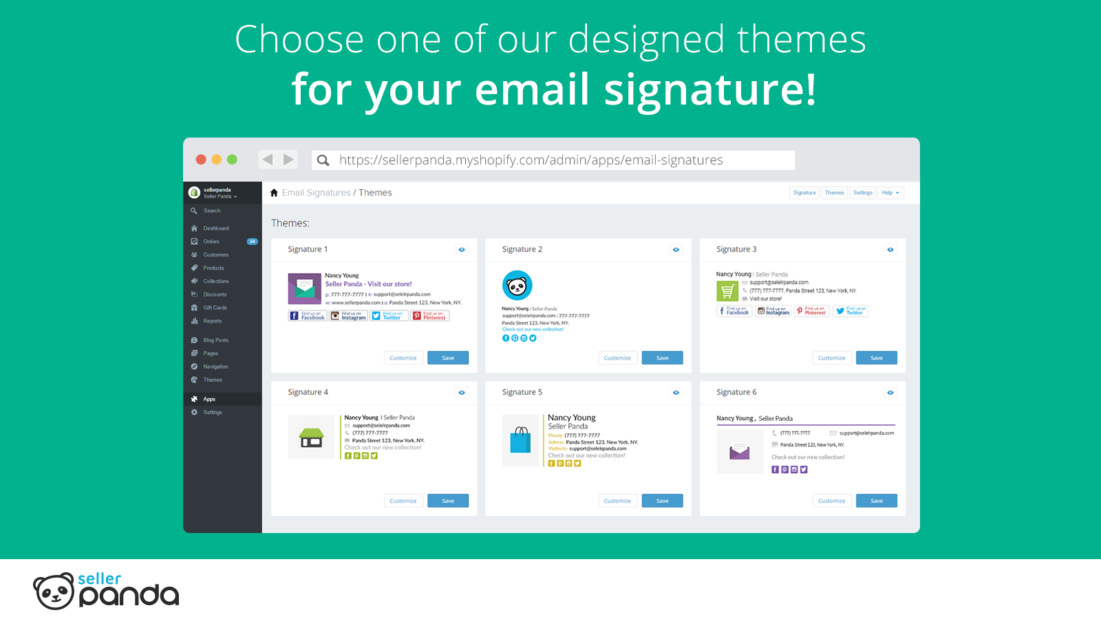 Choose from 6 different email signatures templates