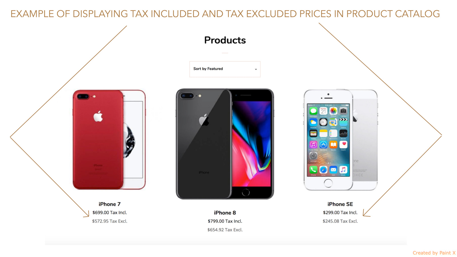 Vat included and Vat excluded prices for all products in catalog