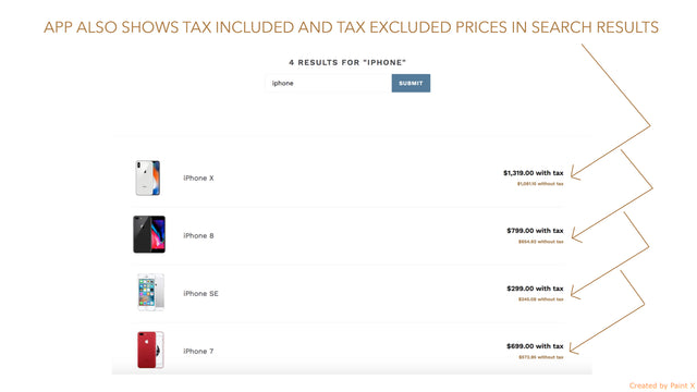 Vat included and Vat excluded prices in products search