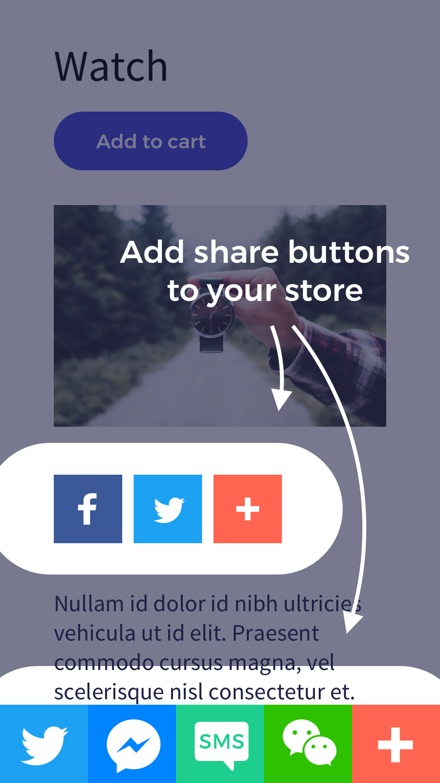add share buttons to your store